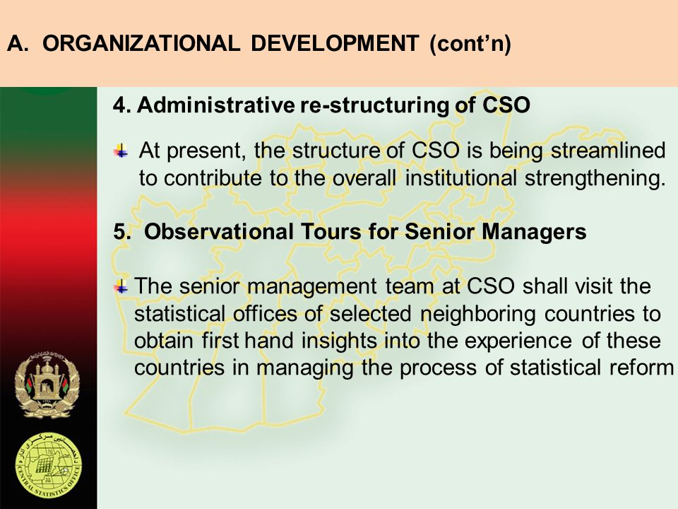A. ORGANIZATIONAL DEVELOPMENT (cont'n)