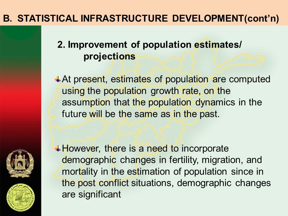 STATISTICAL INFRASTRUCTURE DEVELOPMENT(cont'n)