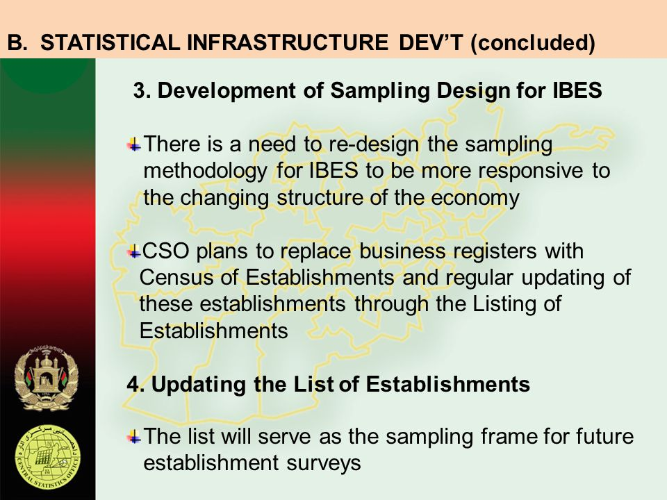 STATISTICAL INFRASTRUCTURE DEV'T (concluded)