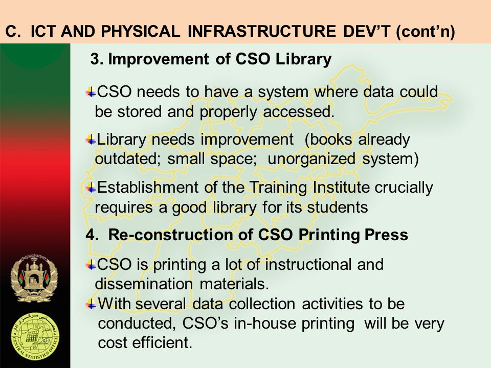 C. ICT AND PHYSICAL INFRASTRUCTURE DEV'T (cont'n)