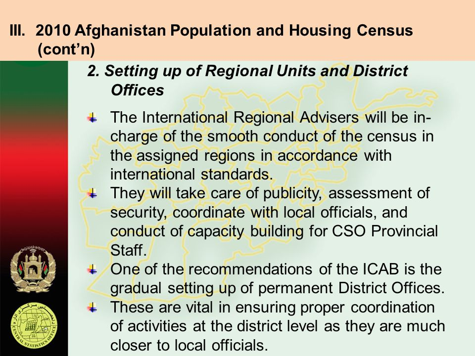 III. 2010 Afghanistan Population and Housing Census (cont'n)