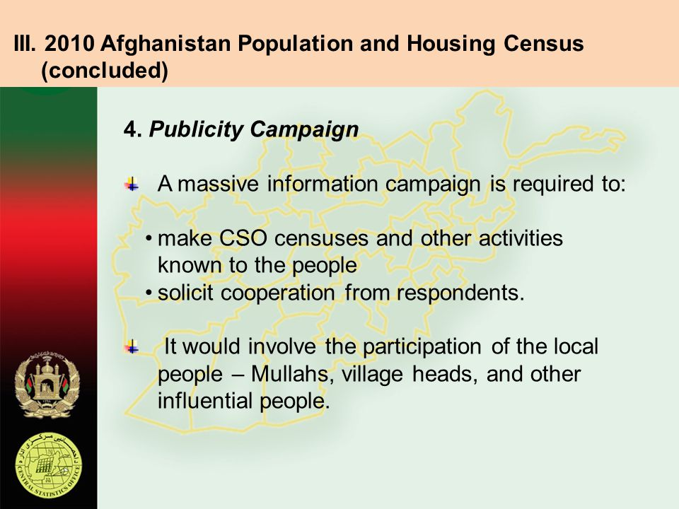 III. 2010 Afghanistan Population and Housing Census (concluded)