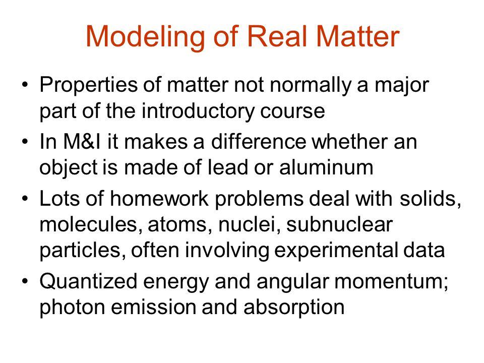 Modeling of Real Matter