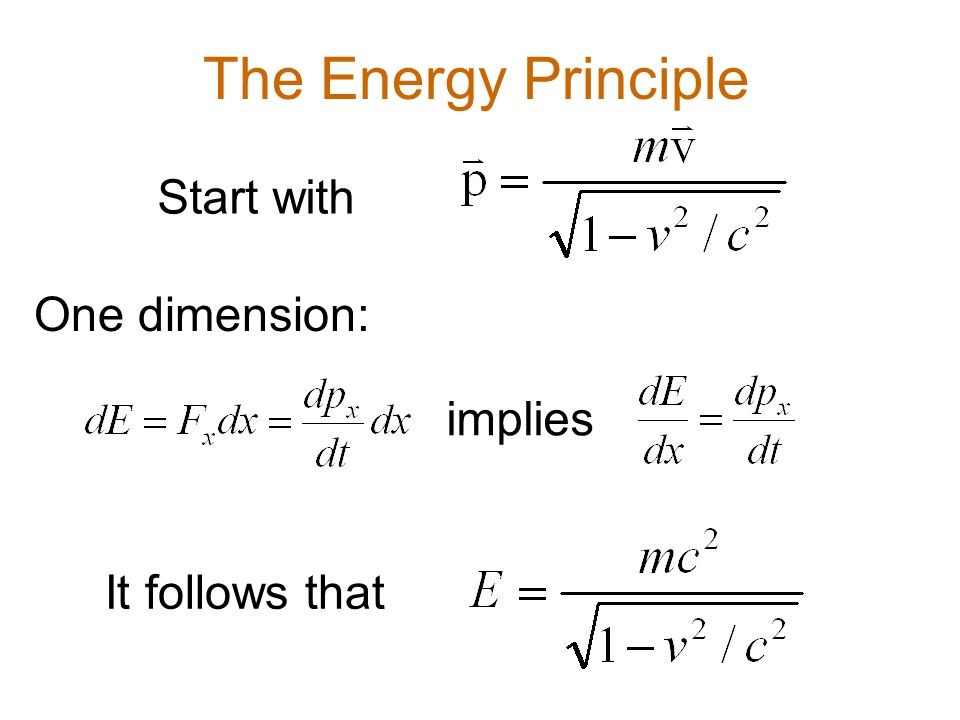 The Energy Principle Start with One dimension: implies It follows that