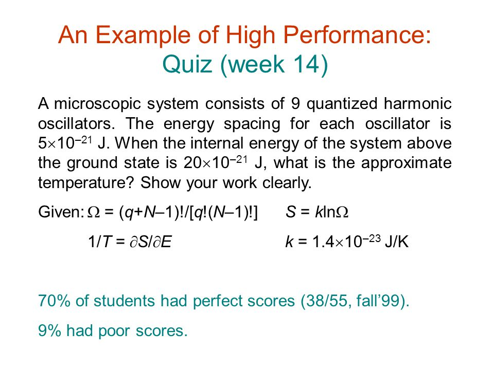 An Example of High Performance: Quiz (week 14)