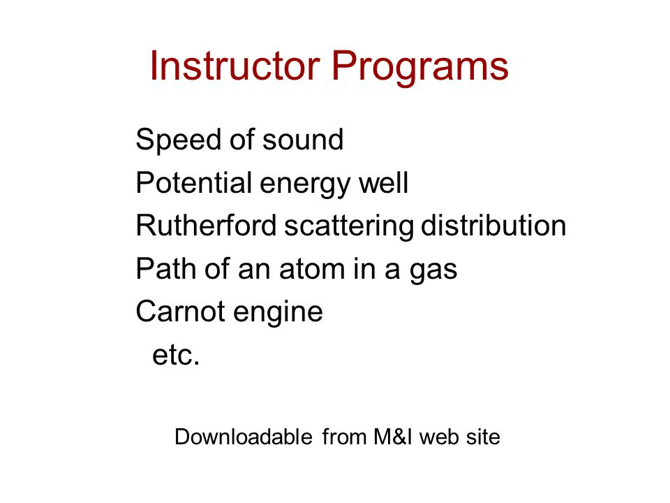 Instructor Programs Speed of sound Potential energy well