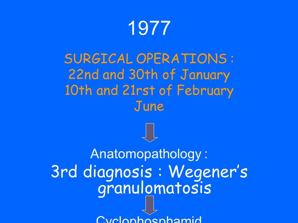 3rd diagnosis : Wegener's granulomatosis