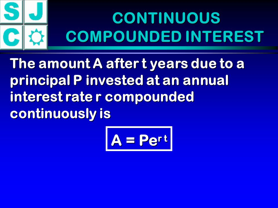 CONTINUOUS COMPOUNDED INTEREST