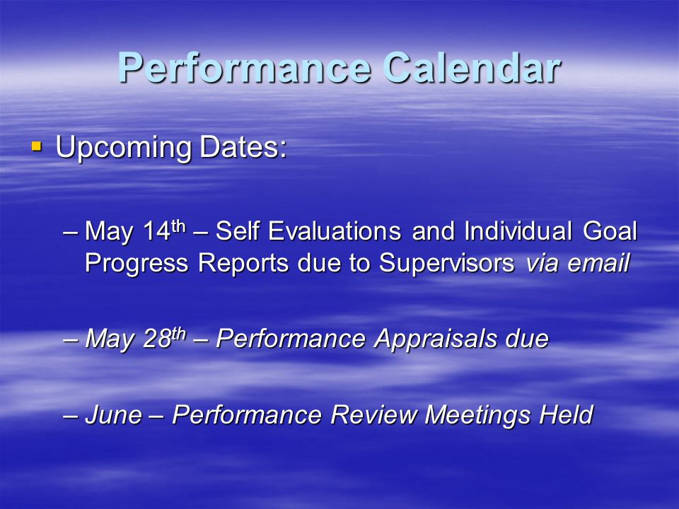Performance Calendar Upcoming Dates: