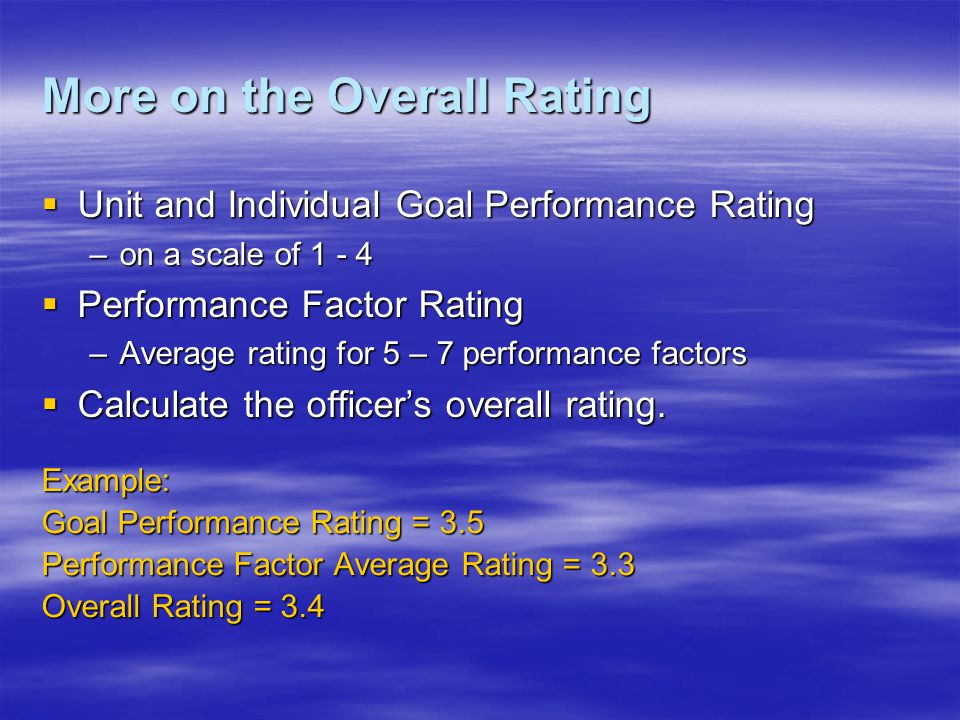 More on the Overall Rating