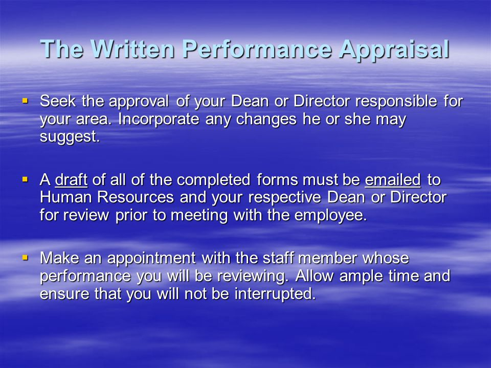 The Written Performance Appraisal