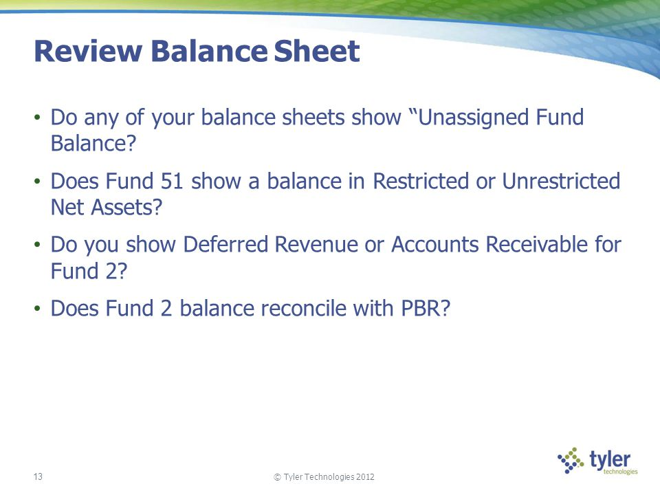 Review Balance Sheet Do any of your balance sheets show Unassigned Fund Balance