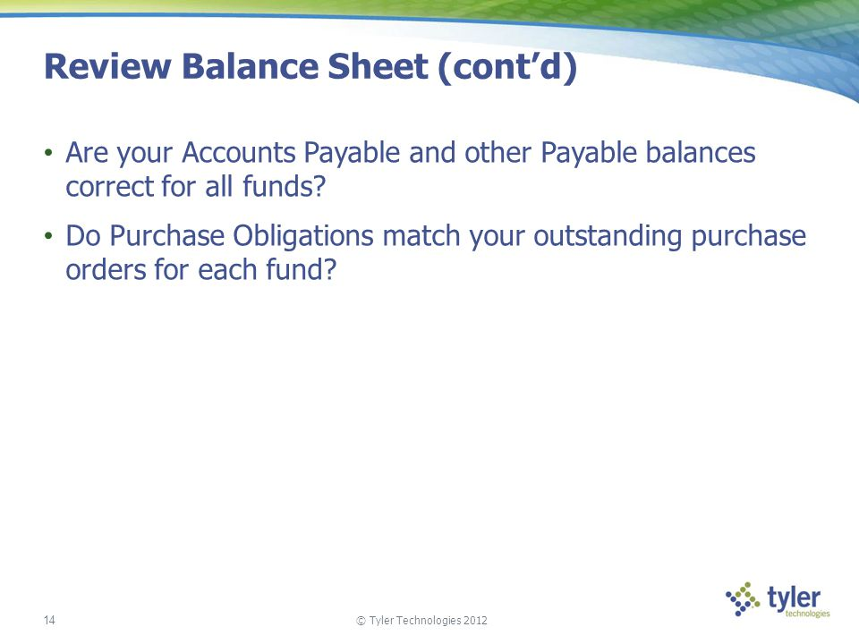 Review Balance Sheet (cont'd)