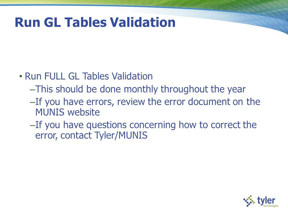Run GL Tables Validation
