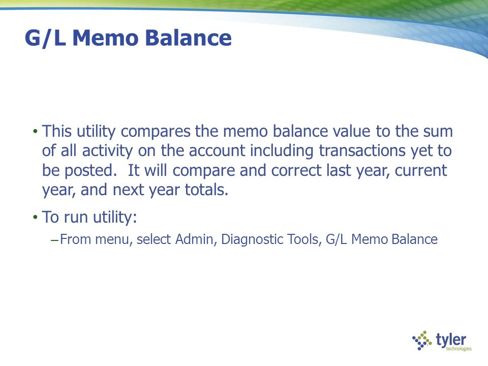 G/L Memo Balance