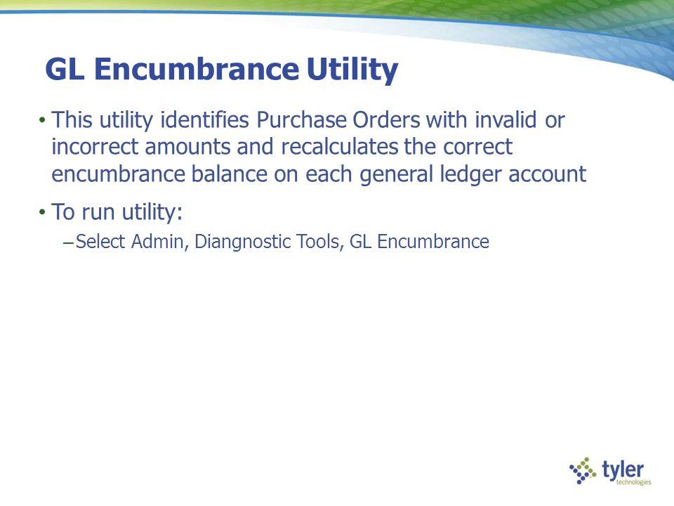 GL Encumbrance Utility