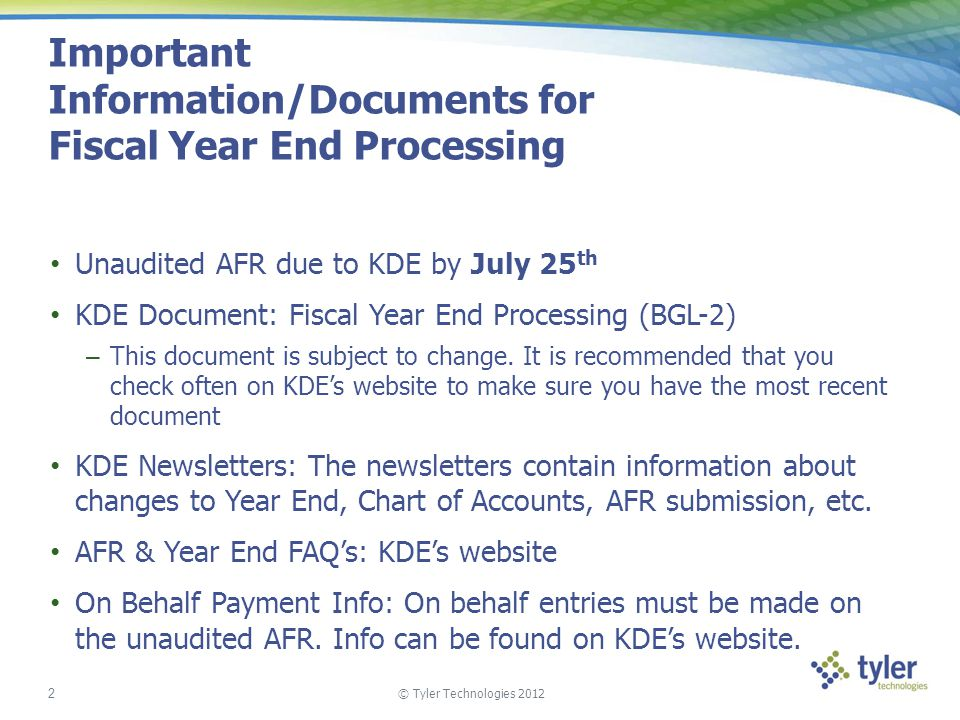 Important Information/Documents for Fiscal Year End Processing