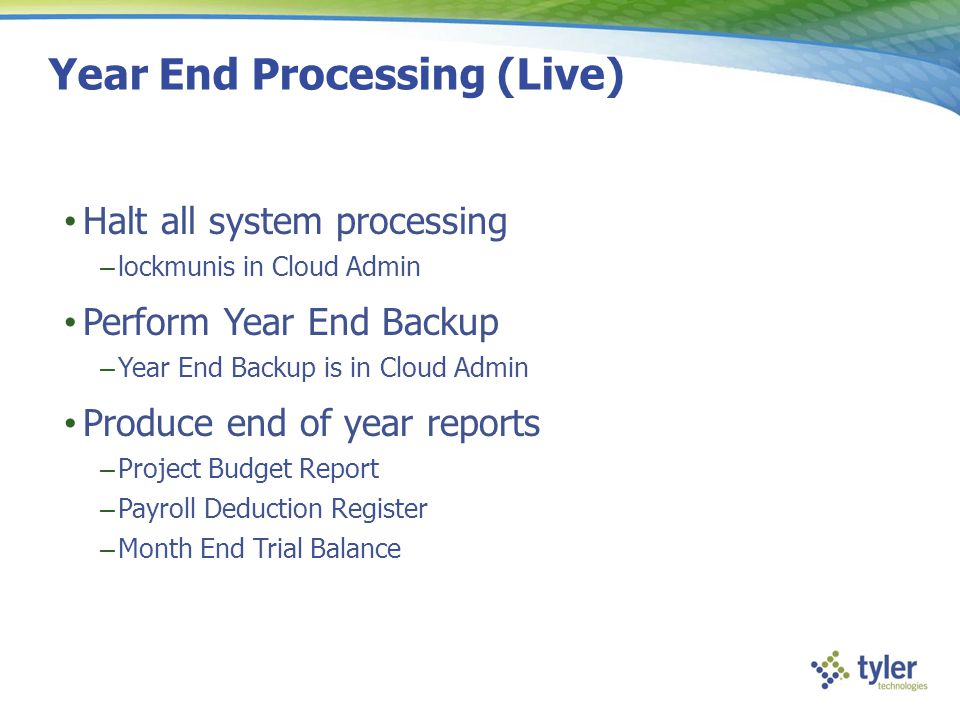 Year End Processing (Live)