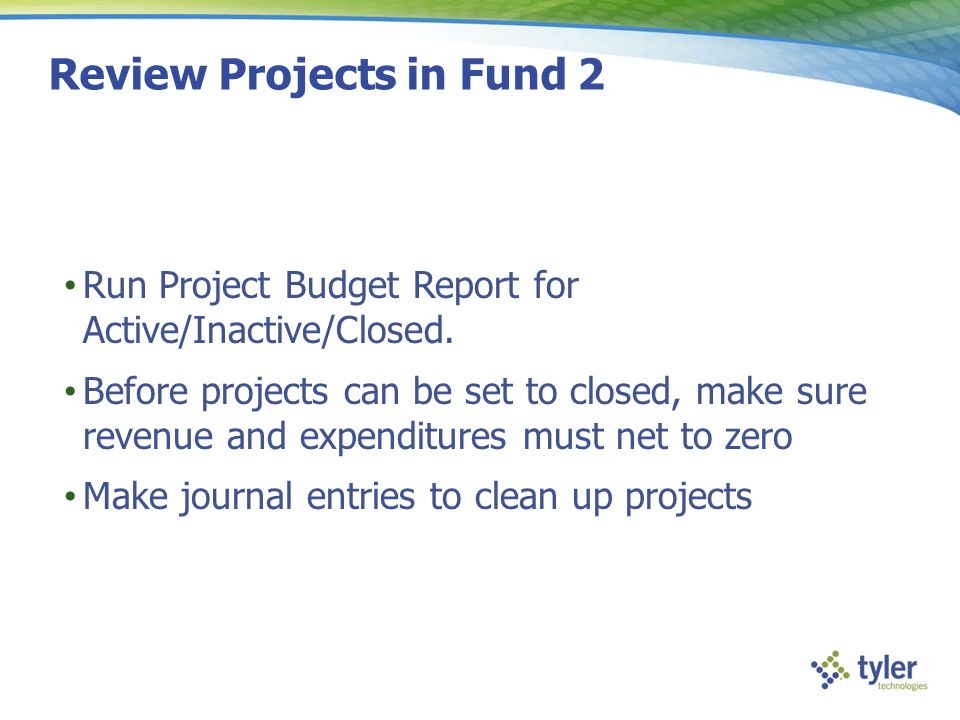 Review Projects in Fund 2
