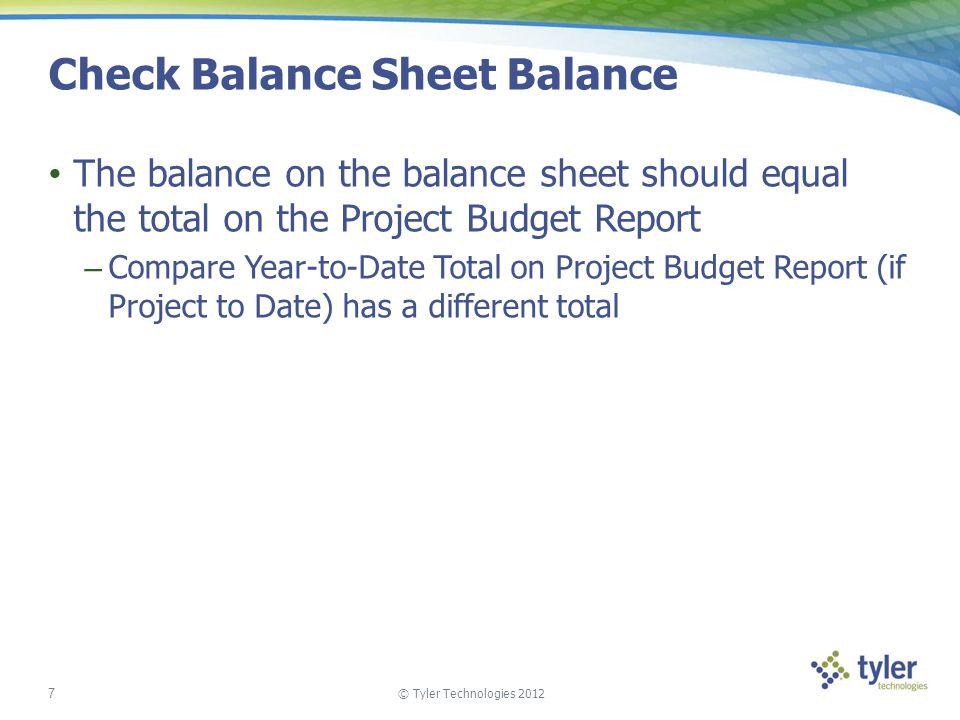 Check Balance Sheet Balance