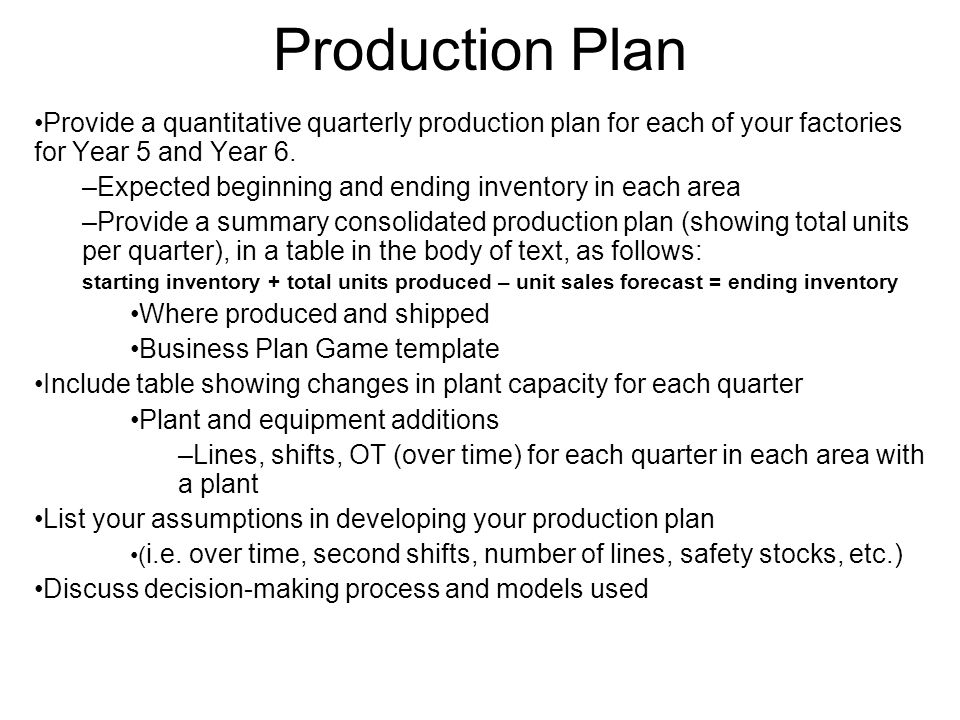 Production Plan Provide a quantitative quarterly production plan for each of your factories for Year 5 and Year 6.