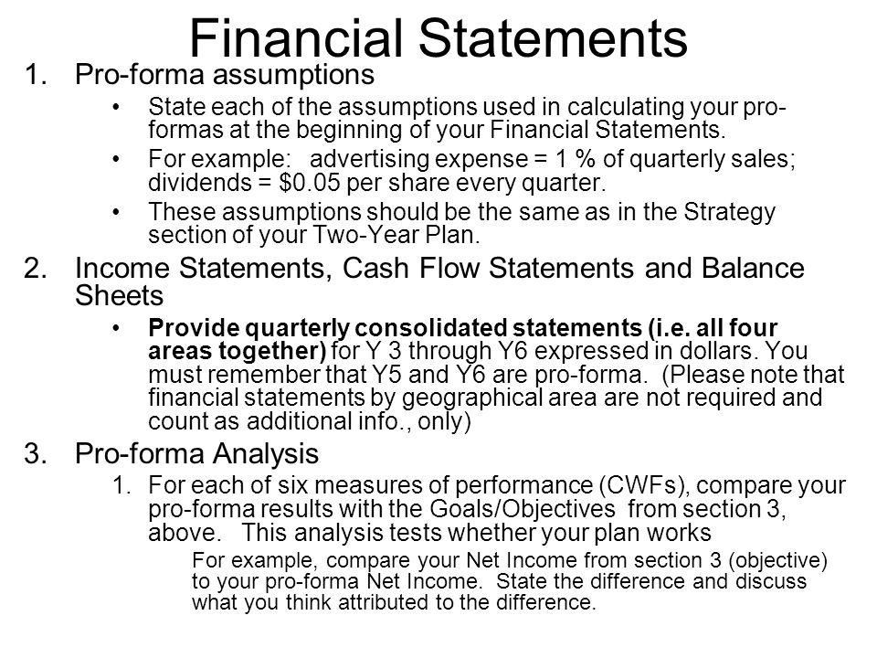 Financial Statements 1. Pro-forma assumptions
