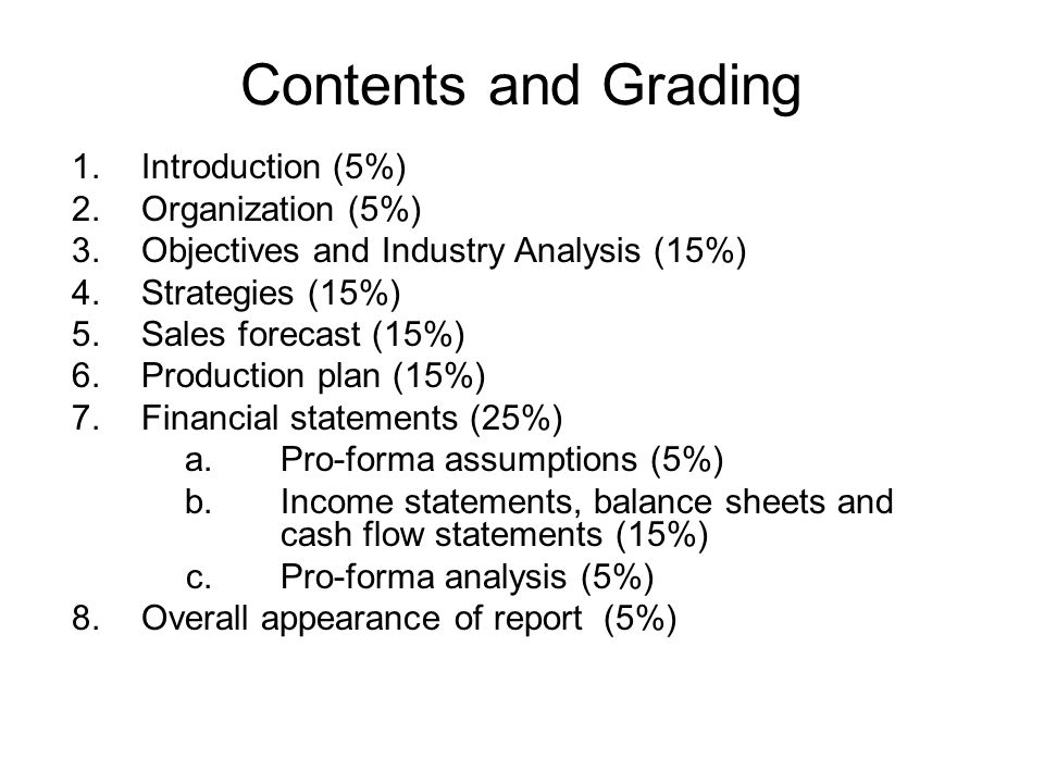 Contents and Grading 1. Introduction (5%) 2. Organization (5%)
