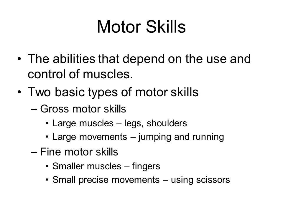 Motor Skills The abilities that depend on the use and control of muscles. Two basic types of motor skills.