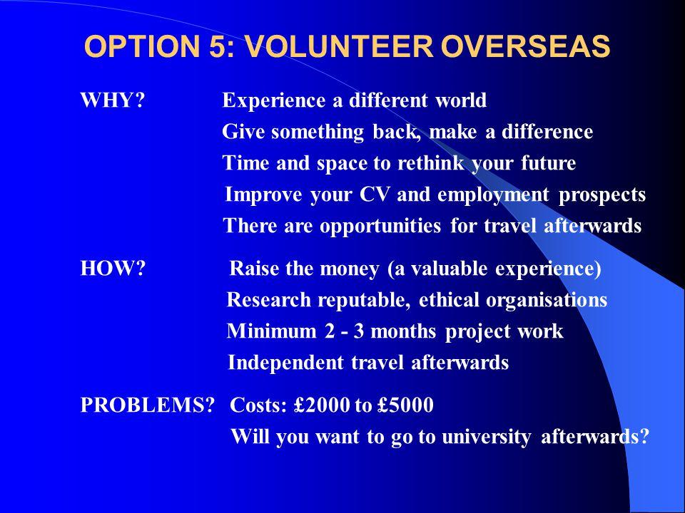 OPTION 5: VOLUNTEER OVERSEAS