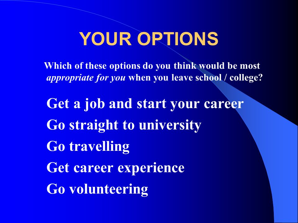 YOUR OPTIONS Go straight to university Go travelling