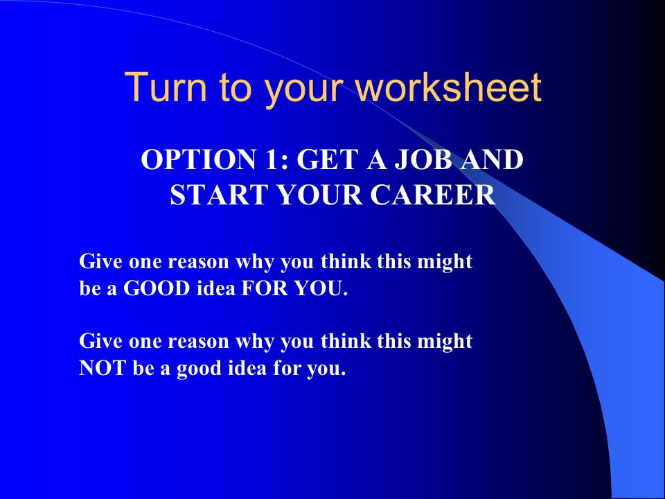 Turn to your worksheet OPTION 1: GET A JOB AND START YOUR CAREER