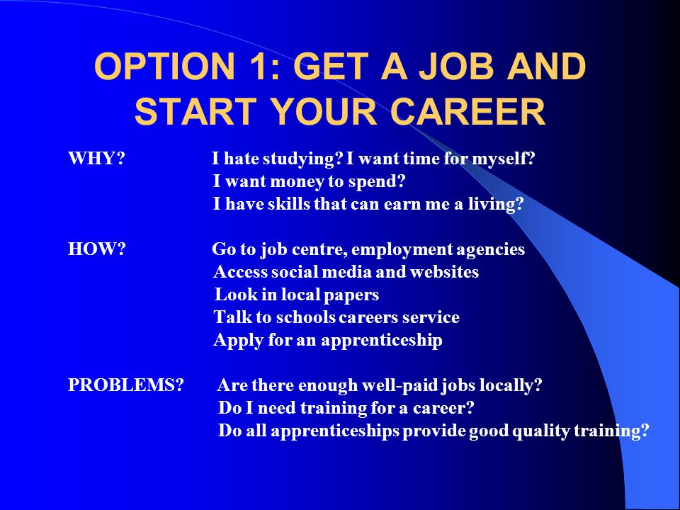 OPTION 1: GET A JOB AND START YOUR CAREER