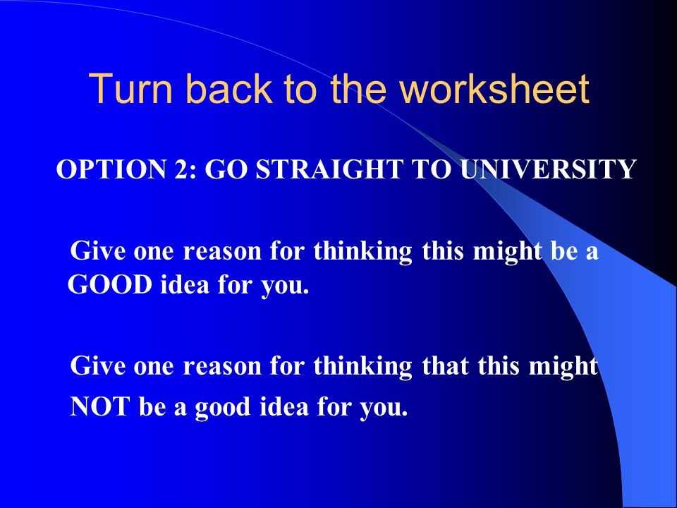 Turn back to the worksheet