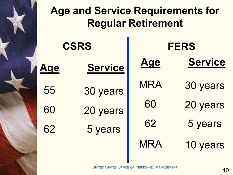 Age and Service Requirements for Regular Retirement