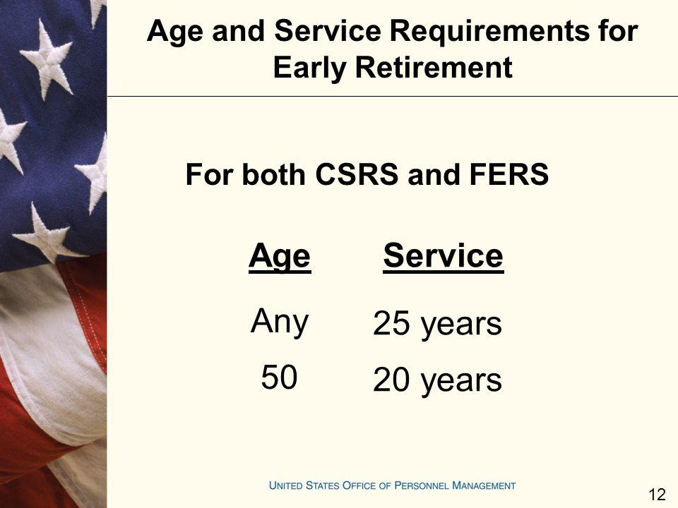 Age and Service Requirements for Early Retirement