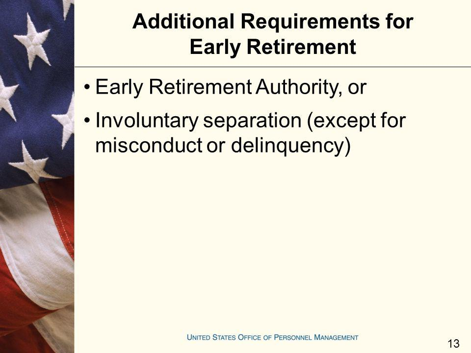 Additional Requirements for Early Retirement