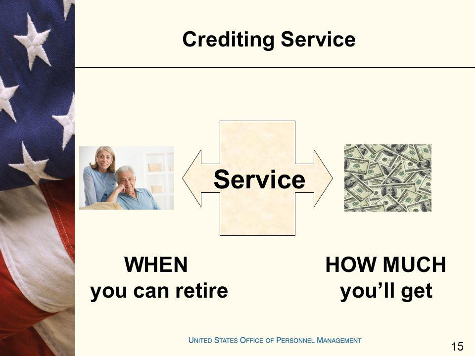 Service Crediting Service WHEN you can retire HOW MUCH you'll get