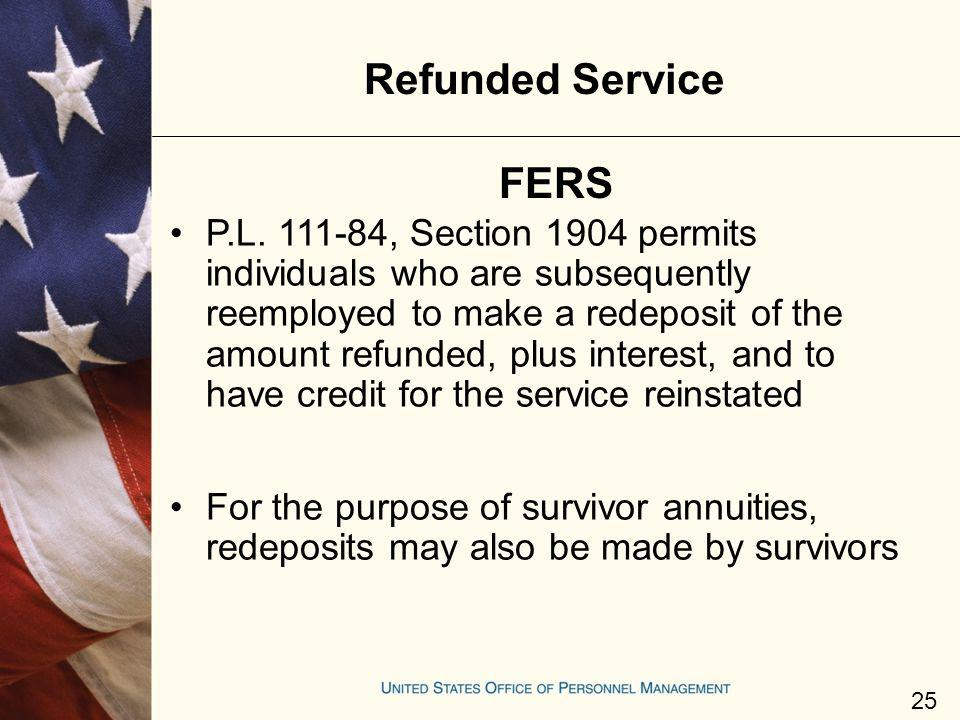 Refunded Service FERS.