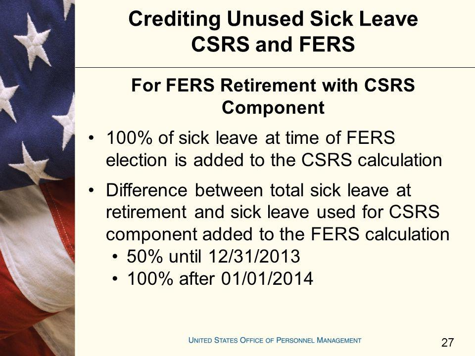 Crediting Unused Sick Leave CSRS and FERS