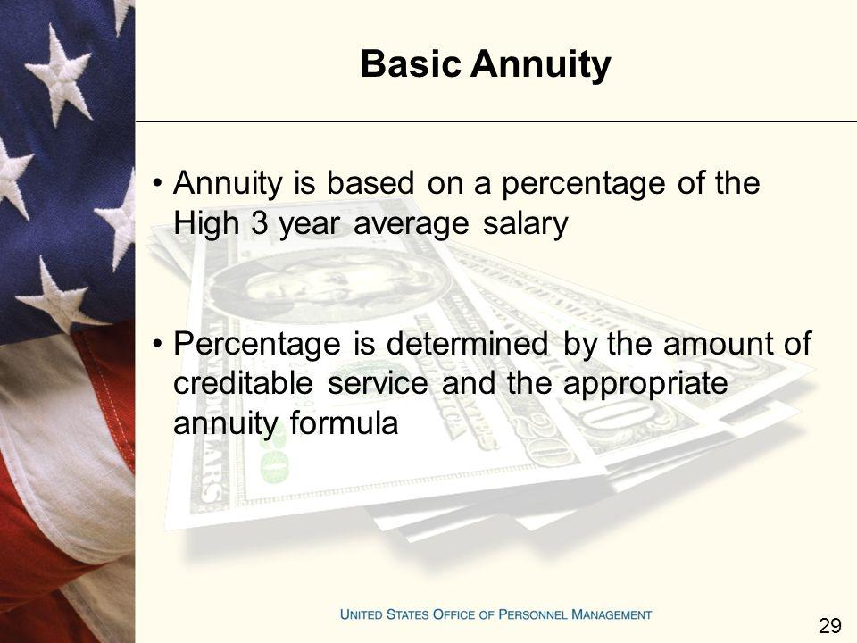 Basic Annuity Annuity is based on a percentage of the High 3 year average salary.