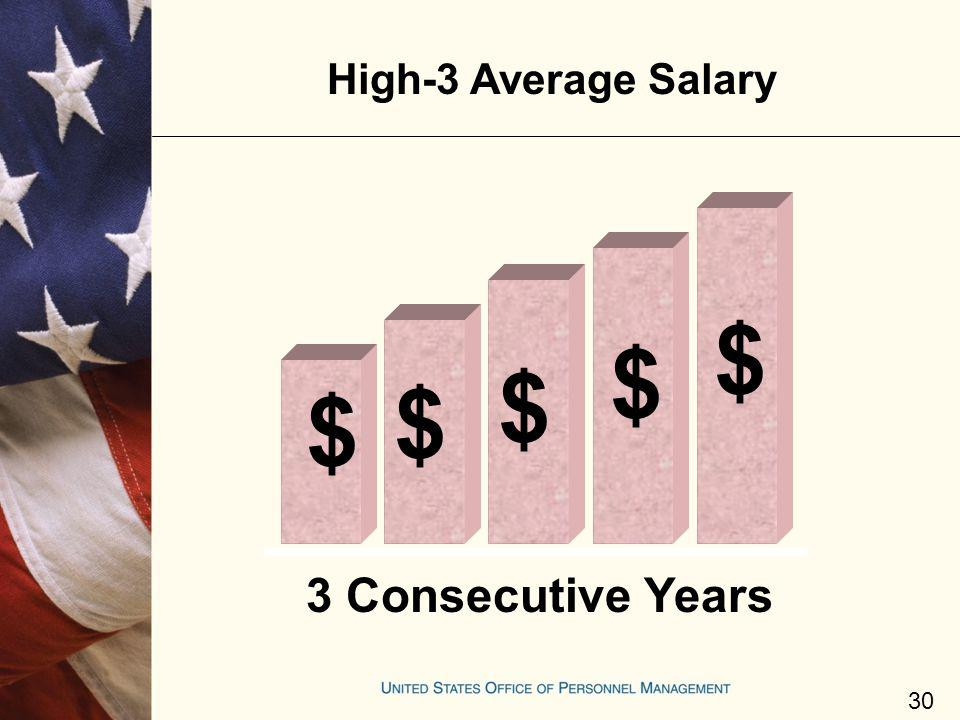 $ 3 Consecutive Years High-3 Average Salary 30