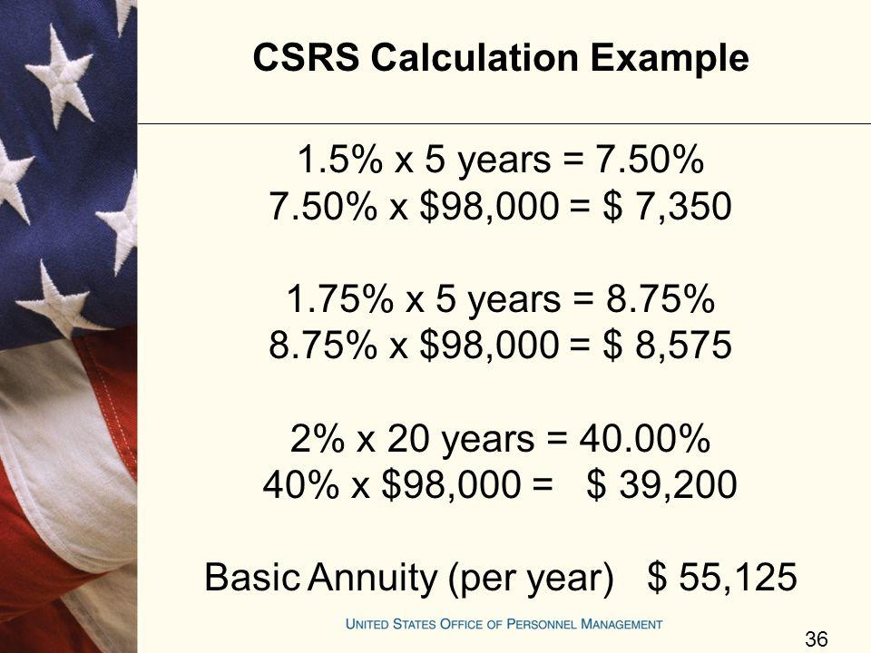 CSRS Calculation Example