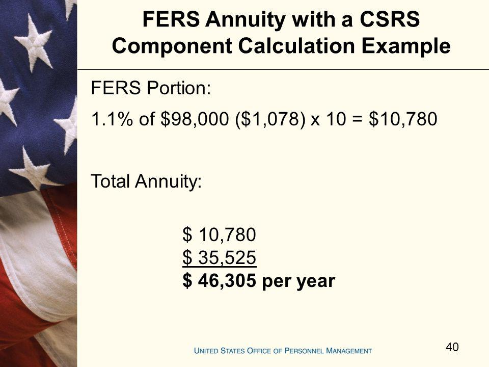 FERS Annuity with a CSRS Component Calculation Example
