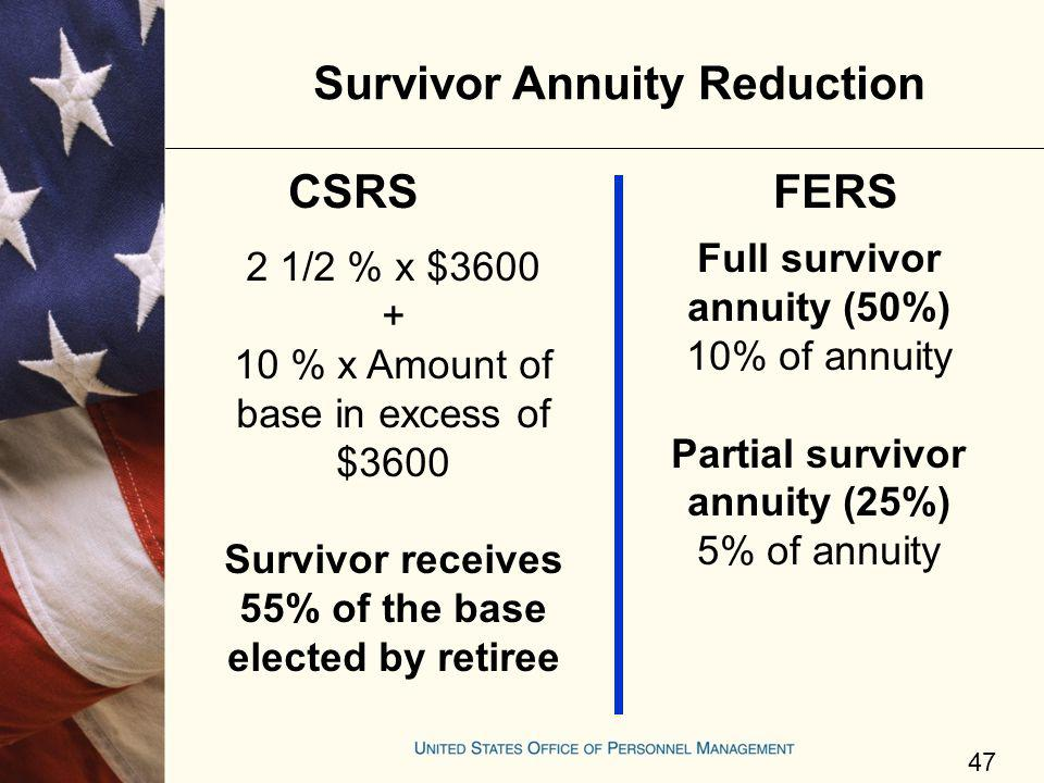 Survivor Annuity Reduction