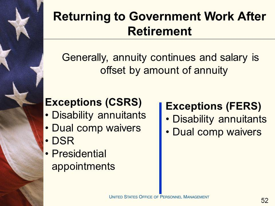 Returning to Government Work After Retirement