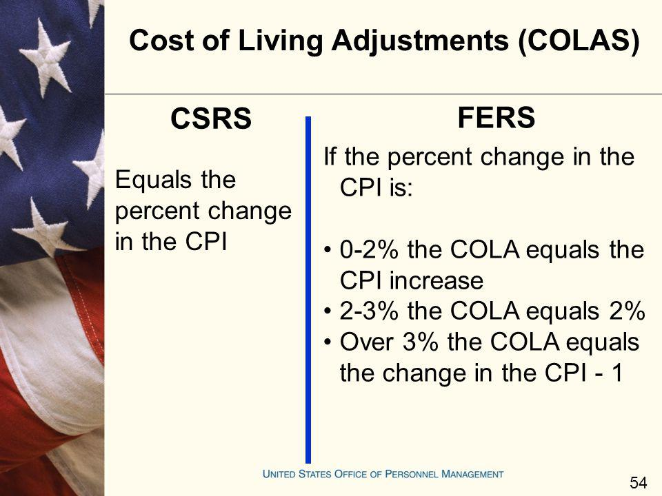 Cost of Living Adjustments (COLAS)