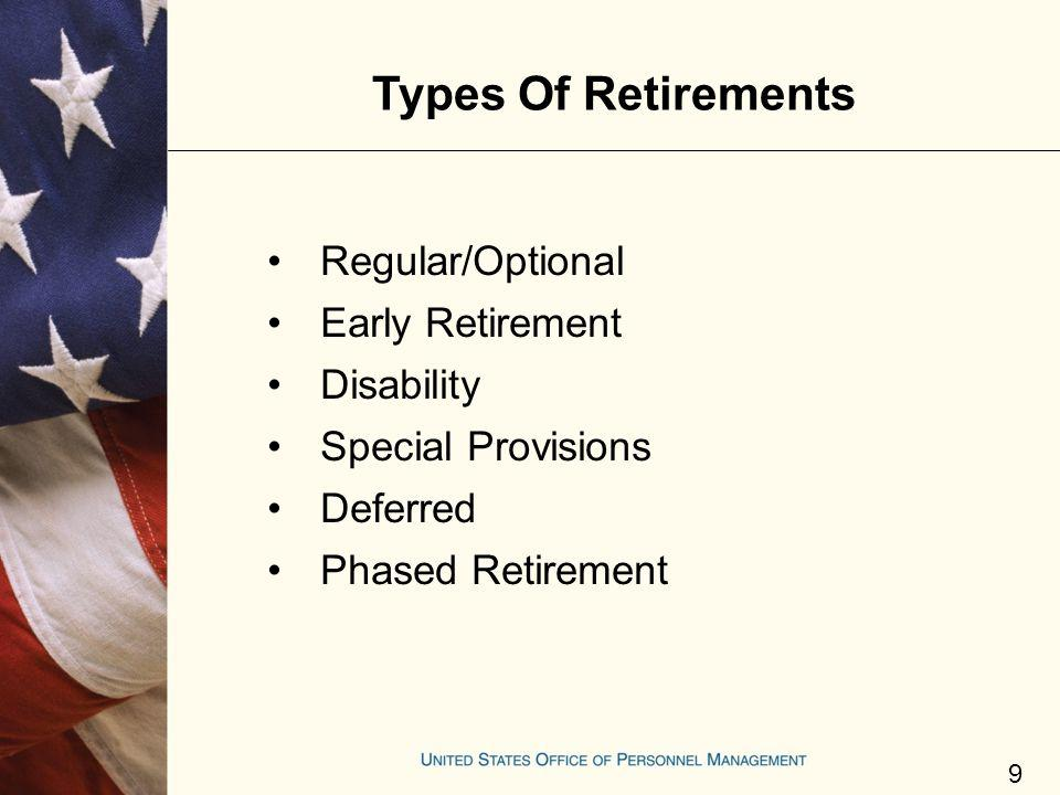 Types Of Retirements Regular/Optional Early Retirement Disability