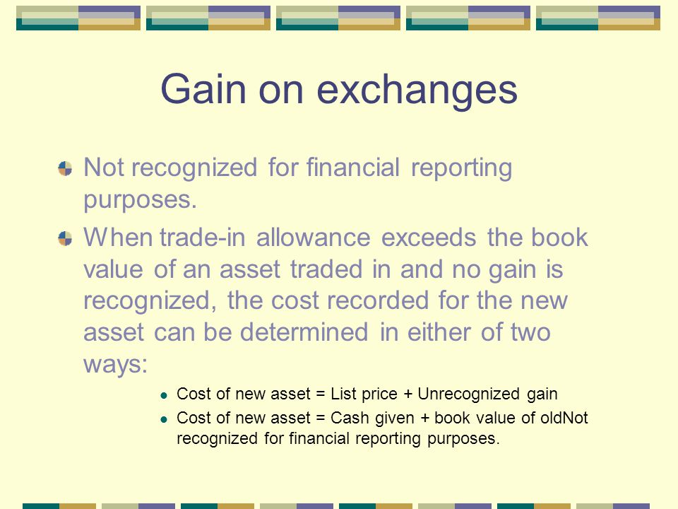 Gain on exchanges Not recognized for financial reporting purposes.