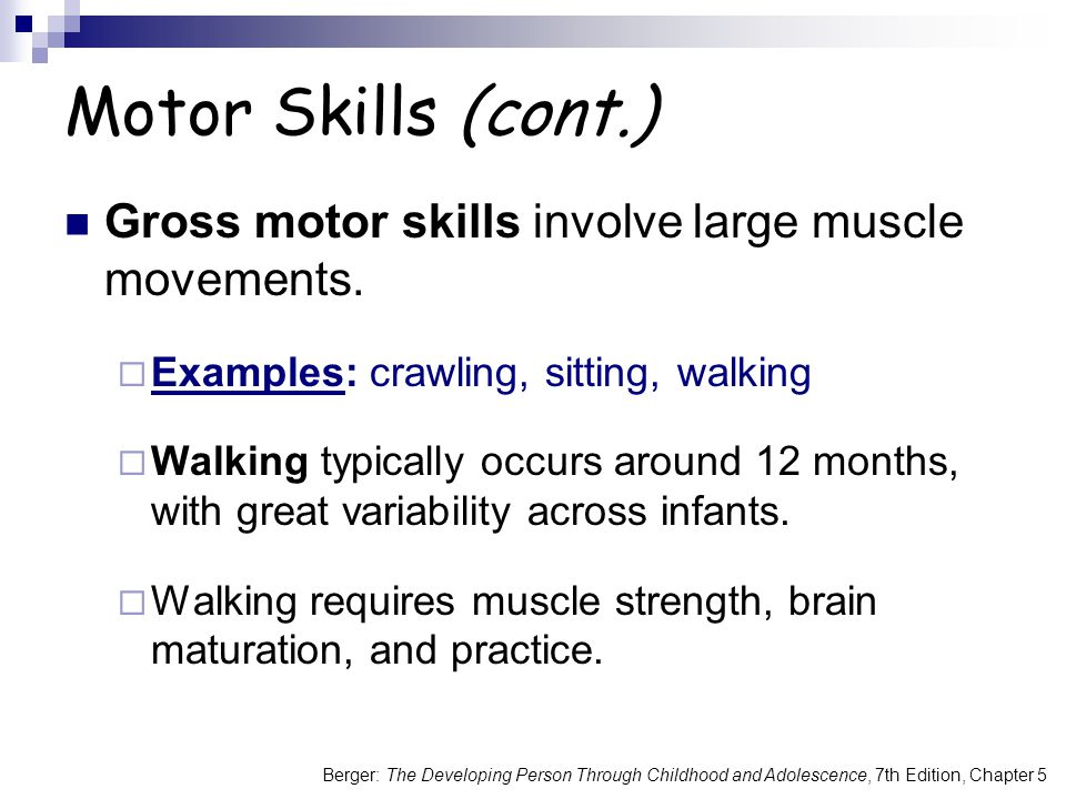Motor Skills (cont.) Gross motor skills involve large muscle movements. Examples: crawling, sitting, walking.