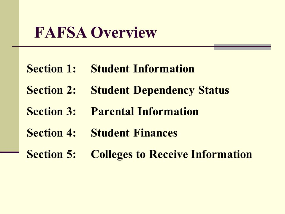FAFSA Overview Section 1: Student Information